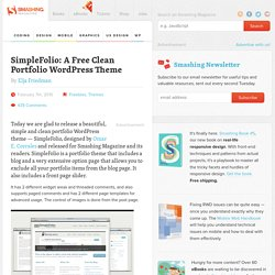 SimpleFolio: A Free Clean Portfolio WordPress Theme - Smashing Magazine