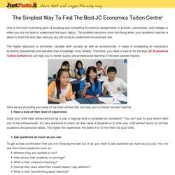 The Simplest Way To Find The Best JC Economics Tuition Centre!