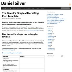 The World's Simplest Marketing Plan Template