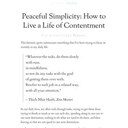 Peaceful Simplicity: How to Live a Life of Contentment | Zen Habits