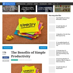Benefits of Simplicity to Productivity