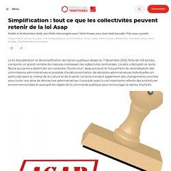 Simplification : tout ce que les collectivités peuvent retenir de la loi Asap