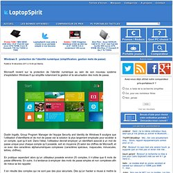 Windows 8 : protection de l'identité numérique (simplification, gestion mots de passe) LaptopSpirit