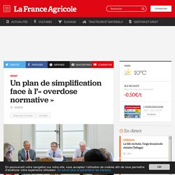 FRANCE AGRICOLE 14/09/16 Sénat - Un plan de simplification face à l'« overdose normative »