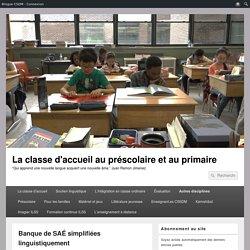 Banque de SAÉ simplifiées linguistiquement – La classe d'accueil au préscolaire et au primaire