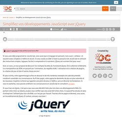 Simplifiez vos développements JavaScript avec jQuery