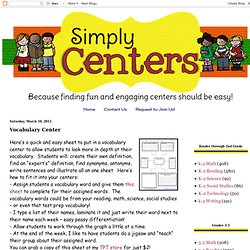 Simply Learning Centers: Vocabulary Center