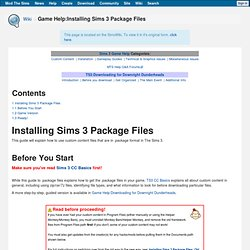 Game Help:Installing Sims 3 Package Files
