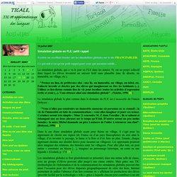 Simulation globale en FLE: petit rappel - TIC@le: TIC, langues et formation des enseignant(e)s