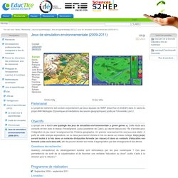Jeux de simulation environnementale (2009-2011)