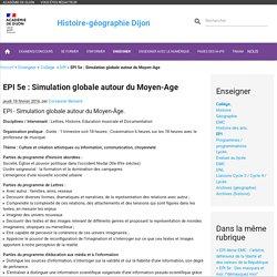 EPI 5e : Simulation globale autour du Moyen-Age