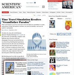 "Time Travel Simulation Resolves ""Grandfather Paradox"""