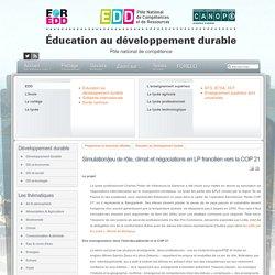 EDD : les textes - Simulation/jeu de rôle, climat et négociations en LP francilien vers la COP 21