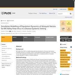 PLOS 26/09/14 Simulation Modelling of Population Dynamics of Mosquito Vectors for Rift Valley Fever Virus in a Disease Epidemic Setting