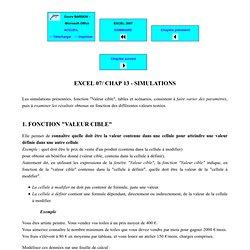 """EXCEL 2007 - Simulations : fonction """"valeur cible"""", table de données, scénario"""