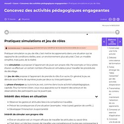 Pratiquez simulations et jeu de rôles - Concevez des activités pédagogiques engageantes
