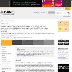 PLOS 06/02/17 Development of a GeXP-multiplex PCR assay for the simultaneous detection and differentiation of six cattle viruses Foot-and-mouth disease virus (FMDV), Bluetongue virus (BTV), Vesicular stomatitis Virus (VSV), Bovine viral diarrheal (BVDV),