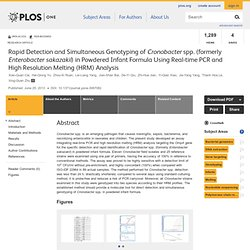 PLOS 25/06/13 Rapid Detection and Simultaneous Genotyping of Cronobacter spp. (formerly Enterobacter sakazakii) in Powdered Infa