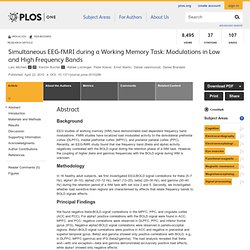 Simultaneous EEG-fMRI, Working Memory Task