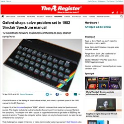 Oxford chaps solve problem set in 1982 Sinclair Spectrum manual