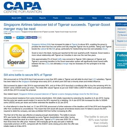 Singapore Airlines takeover bid of Tigerair succeeds. Tigerair-Scoot merger may be next