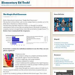 The Single iPad Classroom « Elementary Ed Tech!