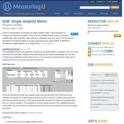 SUM: Single Usability Metric: MeasuringU
