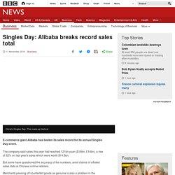 Singles Day: Alibaba breaks record sales total