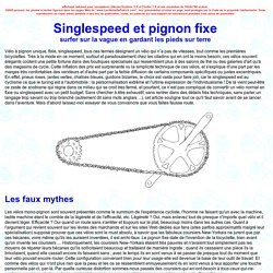 Singlespeed et Pignon Fixe