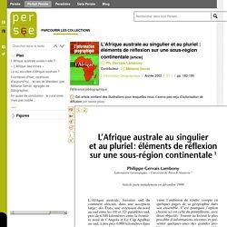 L'Afrique australe au singulier et au pluriel : éléments de réflexion sur une sous-région continentale