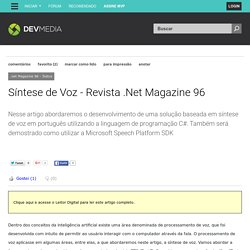 Síntese de Voz - Revista .Net Magazine 96