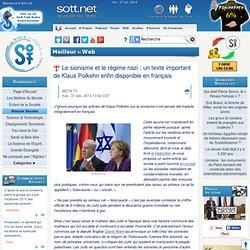 Le sionisme et le régime nazi : un texte important de Klaus Polkehn enfin disponible en français