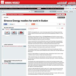 Sirocco Energy redies for work in Sudan
