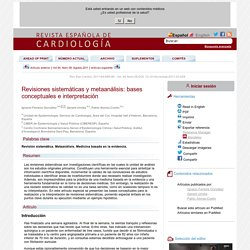 Revisiones sistemáticas y metaanálisis: bases conceptuales e interpretación