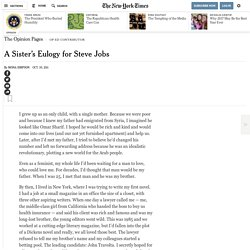 A Sister's Eulogy for Steve Jobs