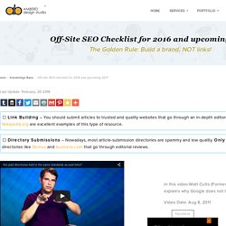 Off-site SEO checklist for 2016 and 2017 – By Amberd