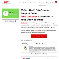 [OFFER Alert] SiteGround Coupon Code - 70% Discount+Free SSL
