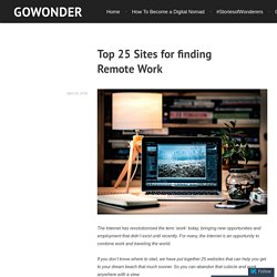 Top 25 Sites for finding Remote Work – GoWonder