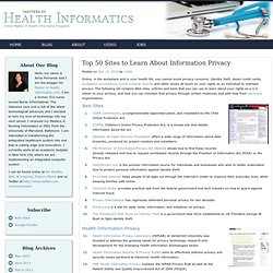 Top 50 Sites to Learn About Information Privacy