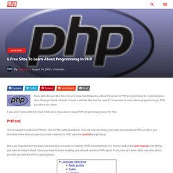 6 Free Sites To Learn About Programming in PHP