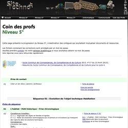 Sitetechno.fr / Coin des profs / Niveau 5°