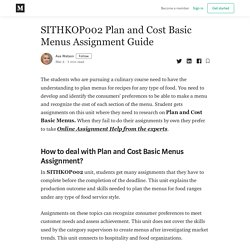 SITHKOP002 Plan and Cost Basic Menus - SITHKOP002 Assignment Help
