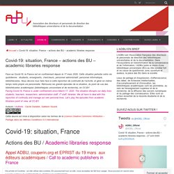 Covid-19: actions des BU (ADBU)