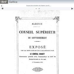 Gallica : Exposé de la situation de l'Algérie