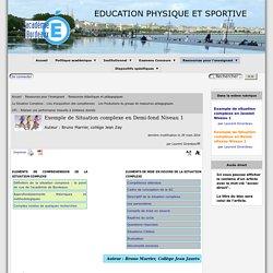 Exemple de Situation complexe en Demi-fond Niveau 1 - [Education Physique et Sportive ]