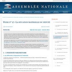 La situation matérielle du député - Fiche n° 17 - Assemblée nationale