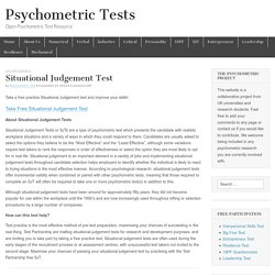 Situational Judgement Test – Psychometric Tests