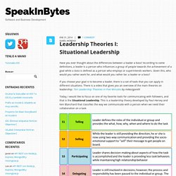 Leadership Theories I: Situational Leadership - SpeakInBytes