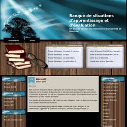 Banque de situations d'apprentissage et d'évaluation