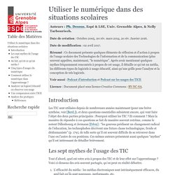 Utiliser les TIC dans des situations scolaires — Documents SAPP Espé-UJF, Univ. Grenoble Alpes 1.0 documentation